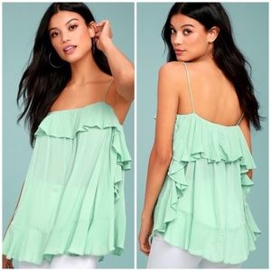 Free People Cascades Ruffled Mint Tank Top NWT